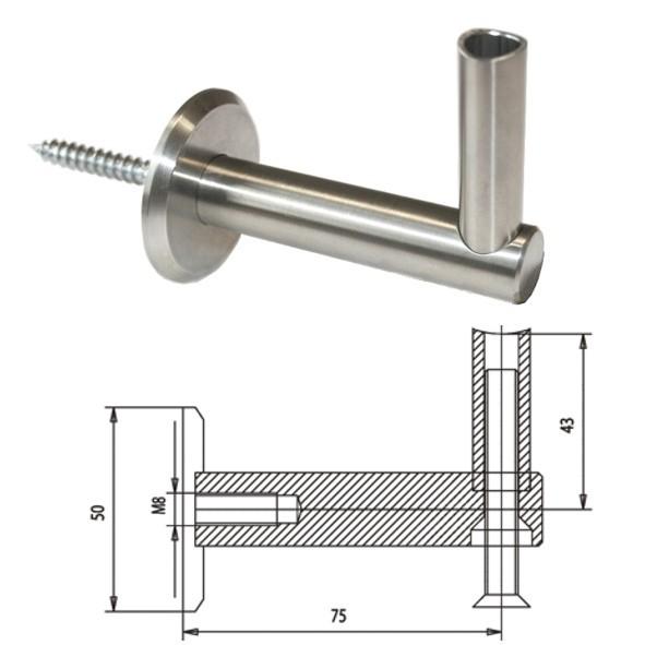 handlauftr ger f r rundrohr 42 4 mm edelstahl v2a reinartz kleinteileversand. Black Bedroom Furniture Sets. Home Design Ideas