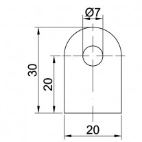 Anschweißlasche, Größe 30 x 20 x 5 mm Edelstahl V2A