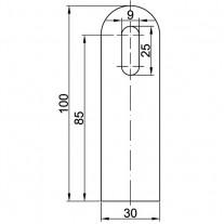 Anschweißlasche, Größe 100 x 30 x 6 mm Edelstahl V2A