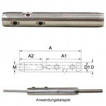 Montageterminal für 3 - 4 mm Drahtseil Edelstahl V4A