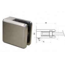 Glasklemme Modell 45 für Vierkantrohr Edelstahl V4A