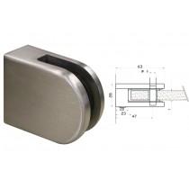 Glasklemme Modell 63 für Vierkantrohr Edelstahl V4A