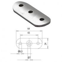 Handlaufträgerplatte für Rundrohr Ø 42,4 mm Stahl ST37