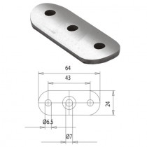 Handlaufträgerplatte für Rundrohr Ø 33,7 mm Stahl ST37