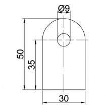 Anschweißlasche, Größe 50 x 30 x 6 mm Stahl ST37