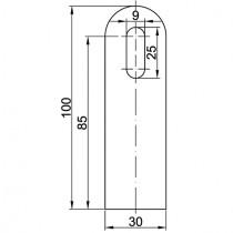 Anschweißlasche, Größe 100 x 30 x 6 mm Stahl ST37