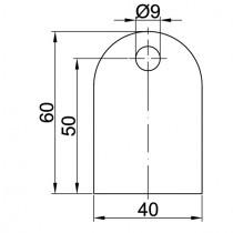 Anschweißlasche, Größe 60 x 40 x 6 mm Stahl ST37