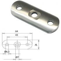 Handlaufträgerplatte für Rundrohr Ø 33,7 mm Edelstahl V2A