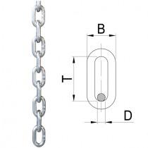 Rundstahlkette kurzgliedrig, Materialstärke 8 mm Edelstahl V4A
