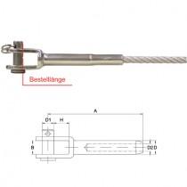Gabelterminal für 4 mm Drahtseil Edelstahl V4A