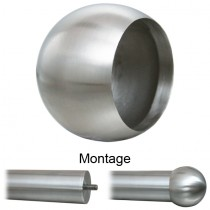 Abschlusskugel mit Ø 55 mm für Rohr Ø 42,4 mm Edelstahl V2A