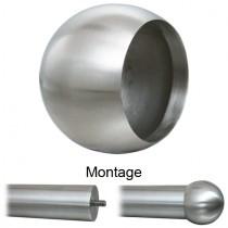 Abschlusskugel mit Ø 45 mm für Rohr Ø 33,7 mm Edelstahl V2A
