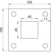 Ankerplatte, Größe 100 x 100 x 6 mm, Mittelloch 40 x 40 mm Edelstahl V2A
