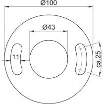 Ronde gelocht, Größe Ø 100 x 6 mm mit Mittelloch Ø 43 mm Edelstahl V2A
