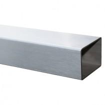 25 cm Vierkantrohr 100 x 50 x 2,0 mm, Edelstahl V2A geschliffen