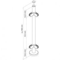 Geländerpfosten mit Glasklemmen, Eckpfosten Edelstahl V2A