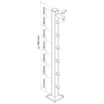 Geländerpfosten mit Querstabhaltern, Durchgangsbohrung Edelstahl V2A