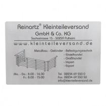 Schild 300 x 200 mm, mit Gravur nach Kundenwunsch Edelstahl V2A