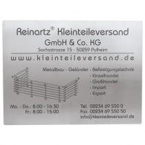 Schild 400 x 300 mm, mit Gravur nach Kundenwunsch Edelstahl V2A