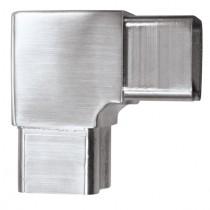 Steckfitting mit 90° Winkel, für Rohr 40 x 40 x 2 mm Edelstahl V2A