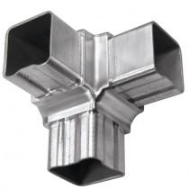 Eckfitting mit 90° Winkel, für Rohr 40 x 40 x 2 mm Edelstahl V2A
