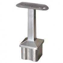 Handlaufstütze für Rohr 40 x 40 x 2,0 mm, mit flacher Platte Edelstahl V2A