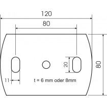 Ankerplatte Größe 120 mm x 80 mm Stahl S235 JR