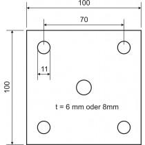 Ankerplatte Größe 100 mm x 100 mm Stahl S235 JR