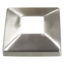 Abdeckrosette Vierkant mit Mittelloch Edelstahl V2A