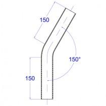 Rohrbogen, aus Rundrohr  150° Edelstahl V2A