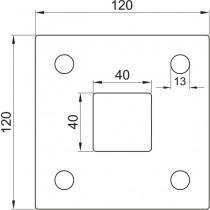 Ankerplatte, Größe 120 x 120 x 6 mm, Mittelloch 40 x 40 mm Edelstahl V2A