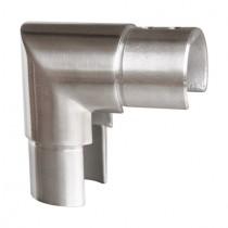 Rohrverbinder vertikal mit 90° Winkel für Glasleistennutrohre Edelstahl V2A