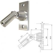 Vordachsystem, Anschluss: Wand-Zugstab, Platte 120 x 50 x 10 mm Edelstahl V2A