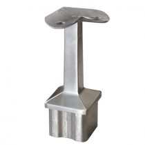 Handlaufstütze für Rohr Ø 40 x 40 x 2,0 mm und Platte mit 90° Winkel für flachen Anschluss Edelstahl V2A